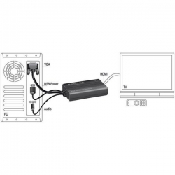 Adapter DELOCK  62597 (D-Sub (VGA), Mini Jack, USB 2.0 typu A M - HDMI F; kolor czarny)-905513
