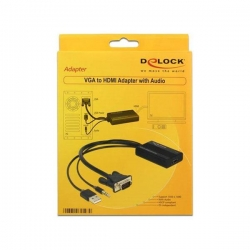 Adapter DELOCK  62597 (D-Sub (VGA), Mini Jack, USB 2.0 typu A M - HDMI F; kolor czarny)-905515